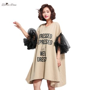 BelineRosa Women's European Fashion Dresses Unique Black Mesh Sleeve Big Sizes Women Dresses Mini Dress Women TYW00693 A1105