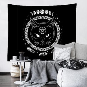 태피스트리 매달려있는 고양이 요술 태피스트리 벽 신비한 점성 Baphomet octult 홈 벽 블랙 멋진 장식 고양이 시베