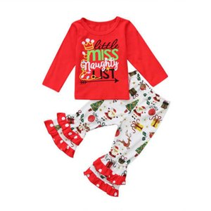 2020 Christmas baby girls suits cute girls outfits long sleeve T shirt+flared trousers 2pcs set Cartoon kids suits girls clothes 1-5Y B3311