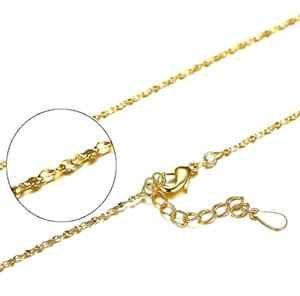 S925 Sterling Silver Plated Chains 18K Gold Plated Snake Box Cross Chains DIY Necklace Jewelry 40cm + 4cm 1mm Wholesale