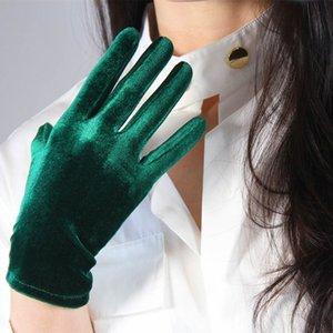 Green Blue Ladies Elegant Velvet Gloves Evening Dress Party Elastic Stretchy Women Spectial Occastion Finger Gloves One Size 201020