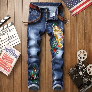 Jeans men blue cotton 3d embroidery ripped floral new homme denim trousers distressed plus size 29-38 straight male pants jeans 201004