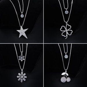 Korean wild double-layer sweater chain dress accessories female autumn and winter long four-leaf clover snowflake decoration necklace pendan