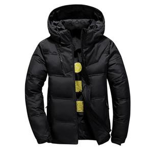 Aksr мужская зима пуховик пуховики белый утка вниз куртки с капюшоном толстым тепловым теплым вагонкой пухлые куртки Doudoune Homme 201104