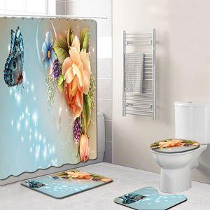 4Pcs set Elegant Flowers Pattern Shower Curtain Toilet Cover Mat Non-Slip Rug Set Bathroom Waterproof Bath Curtain with 12 Hooks