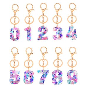 New ins trendy fashion Numbers resin stone keychains for women girls key chain rings bag charms gifts for family friends