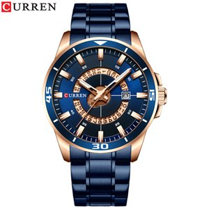 Mens Watch Blue Dial Stainless Steel Water Resistant Man Watches Luxury Business Analog Quartz Mens Watches Fashion