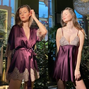 Two Pieces Wedding Robes Lace Sexy V-neck Long Sleeve Soft Silk Sleepwear Women Bathrobe Knee-length Customized Night Gown For Women