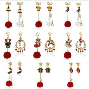 Hot Christmas Earrings Asymmetrical Long AB Earrings Bowknot Snowflake Bell Hair Ball Earrings GD815