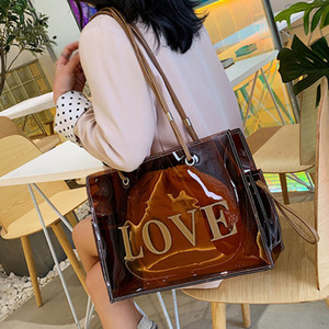 Designer Top-handle Bags For Women Large Clear Tote Bags for Women Luxury Handbags Designer Transparent Hand Single shoulder bag 4