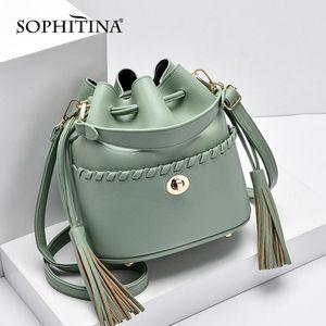 Sophina Bucket Messenger Bag Designer Designer Pulsante Metallo No Zipper Borse piccole Fatte a mano Handmade High Quality Borse da donna E132
