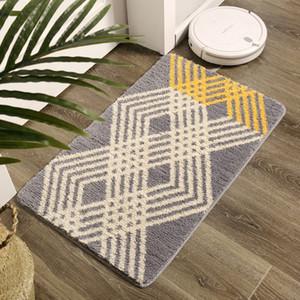 Modern Style Rectangle 40*60cm Polyster Absorbent Anti Slip Bath Bedroom Kitchen Door Floor Mat