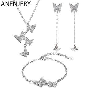 Anenjery squisito S925 bollo argento colore micro zircone farfalla nappa collana + orecchino + braccialetto per le donne set di gioielli 200923