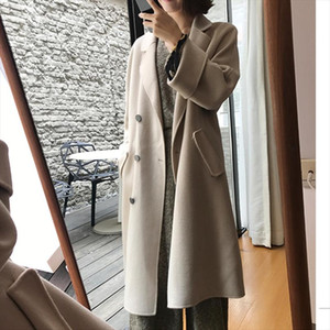 New Winter Elegant Wool Blend Women Fashion Long Coats Woolen Overcoat Oversize Outwear Drop Shipping Good Quality