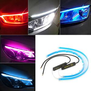 2x 30 cm 45 cm 60 cm Esnek Araba DRL Sıralı Kılavuz ile LED Gündüz Çalışan Işıklar Far için Sinyal Işık