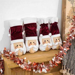Glasses Man Flannel Xmas Festival Party Wine Champagne Bottle Cover 37*17cm Christmas Decoration DHC2916