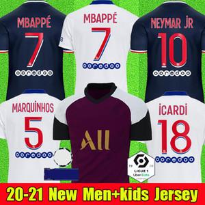 Maillots دي قميص كرة القدم PSGجيرسي كرة القدم 20 21 MBAPPE ICARDI ماركينيوس 2020 الرجال الاطفال camisetas دي فوتبول البشر