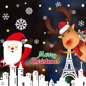 Merry Christmas Wall Stickers Christmas Decorations Santa Elk Window Glass Stickers Home 2020 Christmas Ornaments Xmas NewYear200pcs T1I2665
