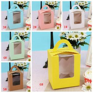 Handle papel do queque caixas com Limpar Janela portátil Macaron Box Mousse Bolo Snack caixas festa de aniversário do pacote da caixa de papel Fornecimento DBC BH4186