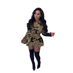 Damen Designer Luxuskleider Revers Hals Camouflage Drucken Geteilte Plissee Kleid Mantel Mode Lässige Frauen Kleidung