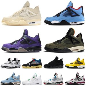 Top Quality Basketball Shoes 4 4s Travis Scott Purple Undefeate Jumpman Sail White Jumpman Mens Women Union noir Off Trainers Sneakers US 13