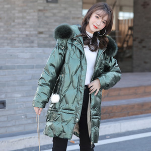 Winter the glossy fashion loose down cotton-padded jacket female han edition of the new long rope with thick hot style tide 201014