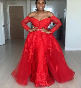 Red Overskirt Evening Dresses Off The Shoulder Lace Appliques African Memaid Prom Dress With Train Plus Size Party robes de soiree