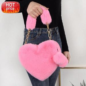 Faux Fur Winter Women Handbags Cute Plush Ladies Heart Shaped Shoulder Bag 2021 Female Clutch Purse Love Handbags Messenger Bag #d097