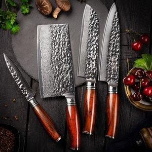 YARENH 4 ADET Bıçak Seti - Şef Santoku Utility Balta Seti - 73 Katmanlar Şam Yüksek Karbon Çelik Bıçak - Mutfak Pişirme Araçları