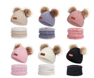 Kids Winter Beanie Hat Scarf Set For Boys Girls Hot Knitted Warm Fleece Lined Skiing Cap Lovely Two Double Pom Pom wmtddE otsweet