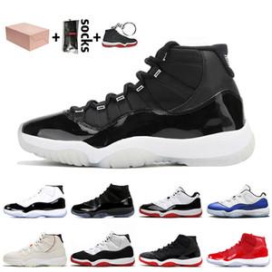Nike air jordan 11 11s jordan retro 11 stock x مع صندوق 25 الذكرى فضي معدني Jumpman 11 الحريرالأردنأحذية كرة السلة الرجعية ولدت كونكورد النساء الرجال المدربين أحذية رياضية