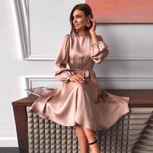 Women Vintage Sashes Sation A-line Dress Lantern Sleeve O neck Solid Elegant Casual Party Dress 2020 Winter Fashion