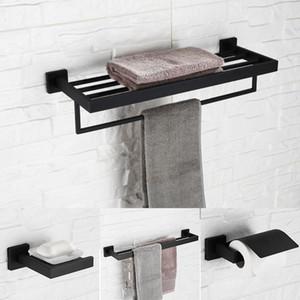 Auswind Black Square Ванная комната Оборудование для ванной комнаты Настенное Установленное полотенце стойки Крюк Держатель для бумаги для ванной Комплект аксессуаров Q7H001 Bbyzig BWKF