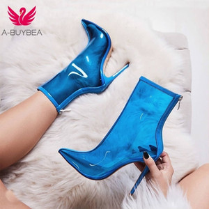 A-buybea Nuove Donne Stivaletti in PVC Stivaletti Vendita calda Transparent Women Boots Clearheels Scarpe Super High Tacchi alti Thin Head Zip Stivali da donna 201103