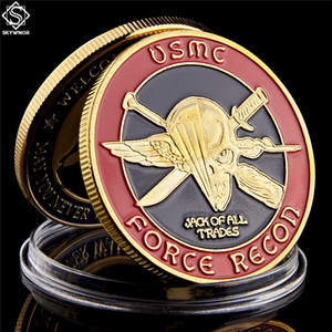 Free Shipping USA Challenge Coin Navy Marine Corps Usmc Force Recon Military Gold Coin Collection Gift Coin