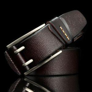 Hreecow Vintage-Stil Pin Schnalle Kuh Echtes Leder Gürtel für Männer Hohe Qualität Herren Jeans Gürtel Cinturones Hombre Y1220