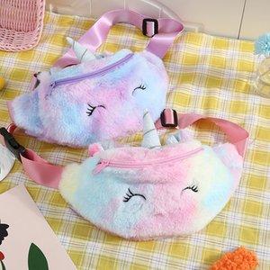 Children Plush Single Shoulder Bag Unicorn Pattern Outdoors Motion Kids Inclined Shoulder Bags Purses Storage Pack 10cs J2
