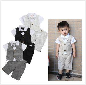 Summer Baby Boys Gentleman Style Clothing Sets Kids Short Sleeve Waistcoat Shirt+Shorts 2pcs Set Children Suit Child Outfits