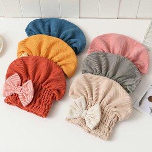 1 PCS Coral Veludo Portátil Capas Super absorvente toalha de cabelo seco com bowknot para mulheres acessórios de banho