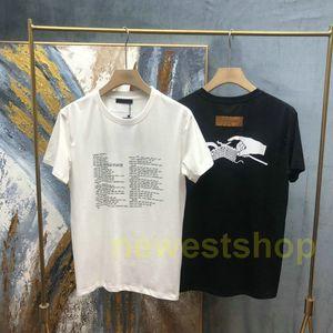 2021 Yeni Yaz Avrupa Tasarımcısı Marka Erkek Paris Örme Mektup Baskı T Shirt En Kaliteli T Shirt Moda T-shirt Kadınlar Casual Tee