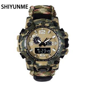 SHIYUNME Men Military Watch 50 Meters Waterproof Compass LED Digital Quartz Dual display Sports Watch Male Relogio Masculino LJ201212
