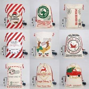 Elk Sled Drawstring Bag Heavy Pouch Santa Sacks Merry Christmas Decorations Ornaments 2020 Canvas Snack Gift 50*70cm 10 9bya C2