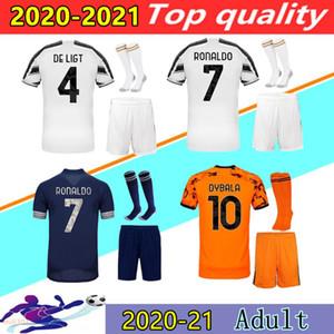 20 21 Juventus jerseys de hombre Personalizar camisa kits + calcetines 2020 2021 Juve mejor tamaño para adultos de calidad uniforme S-XXL