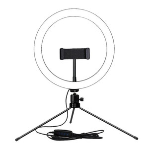 Dimmable LED Selfie Ring Licht 8 Zoll Ringlampe für Make-up Beleuchtung Beauty Room Table Tripod Living Broadcast USB-Stecker
