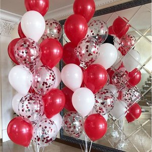 Valentines Day Decor 30pcs White Red Confetti Balloons Kit Birthday Wedding Party Decorations Kids Adult Supplies Y0107