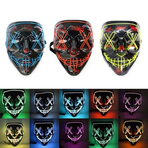Hot Sale Halloween Glowing Mask Party V-Shaped Blood Horror Mask LED Flashing Ghost Dance Mask Free Shipping