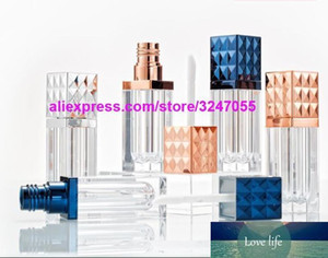 Square Rose Gold Empty Cosmetic Lip Gloss Tube, Professional Beauty Silver Lipstick Refillable Bottle, Blue Lip Oil Container