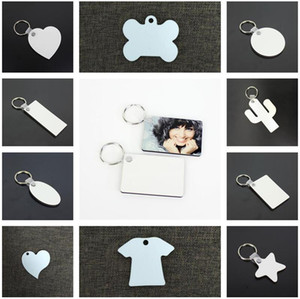 11 Styles Sublimation Blank Keychain MDF Holz Key Anhänger Thermotransfer Doppelseitige Schlüsselanhänger Weiß DIY Geschenk Schlüsselanhänger