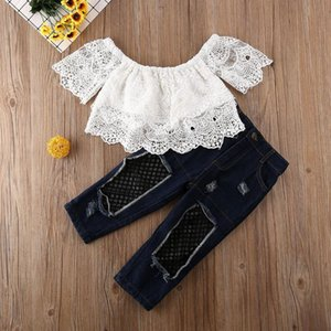 2-7Y Toddler Kids Baby Girl Clothes Off Shoulder Lace Tops+Jeans 2PCS Fashion Outfit Clothes