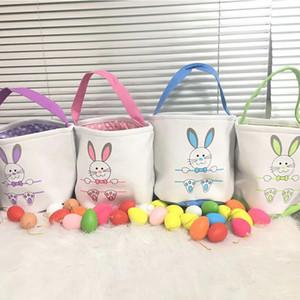Hızlı Kargo Paskalya Sepeti Tuval Kovalar Kişiselleştirilmiş Paskalya Bunny Hediye Çanta Bunny Kuyruk Tote Çanta 10 Stilleri Karışımı